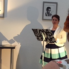 "Reading my flash story ""Kit-Cat Clock"" at the Spider Road Press celebration."
